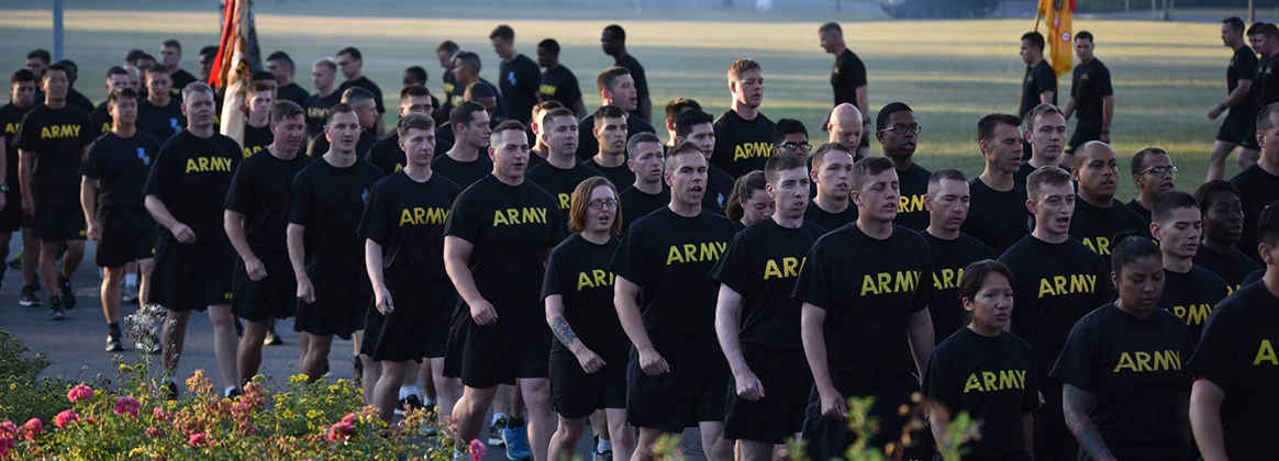 Soldiers run in formation during the 7th Army Training Command's Training Readiness Authority run conducted at Grafenwoehr, Germany, July 25, 2018. This is the first team-building event since U.S. Army Europe restructured its mission command relationships this summer, as the 173rd Airborne Brigade, the 2nd Cavalry Regiment and the 12th Combat Aviation Brigade are realigned under the 7th Army Training Command.